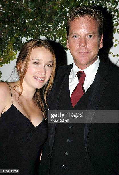 Kiefer Sutherland with daughter Sarah during The 55th Annual Primetime Emmy Awards - 20th Century Fox Post Emmy Gala at Morton's Resturant in...