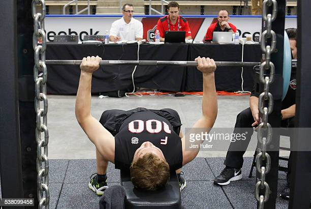 Kieffer Bellows does the Bench press during the NHL Combine at HarborCenter on June 4 2016 in Buffalo New York
