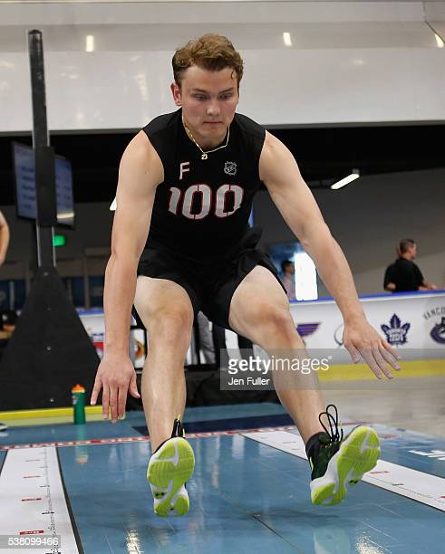 Kieffer Bellows does the Long jump during the NHL Combine at HarborCenter on June 4 2016 in Buffalo New York