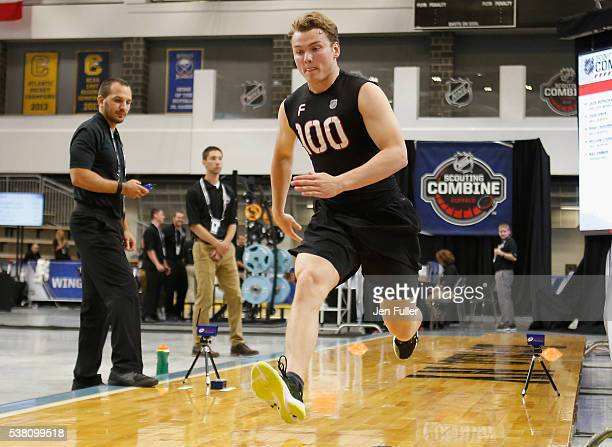 Kieffer Bellows does the Pro Agility test during the NHL Combine at HarborCenter on June 4 2016 in Buffalo New York