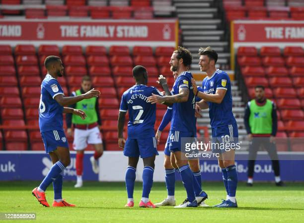 Kieffer Moore and Cardiff City FC during the Sky Bet Championship match between Nottingham Forest and Swansea City at City Ground on September 19,...