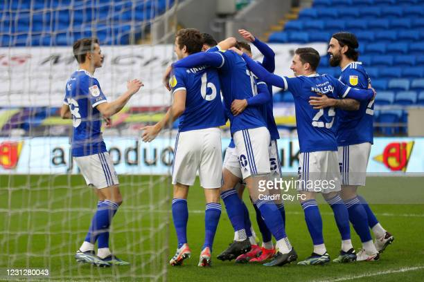 Kieffer Moore celebrates scoring the first goal for Cardiff City FC during the Sky Bet Championship match between Cardiff City and Preston North End...