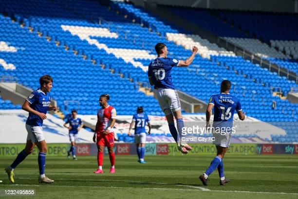 Kieffer Moore celebrates scoring the first goal for Cardiff City FC during the Sky Bet Championship match between Cardiff City and Wycombe Wanderers...