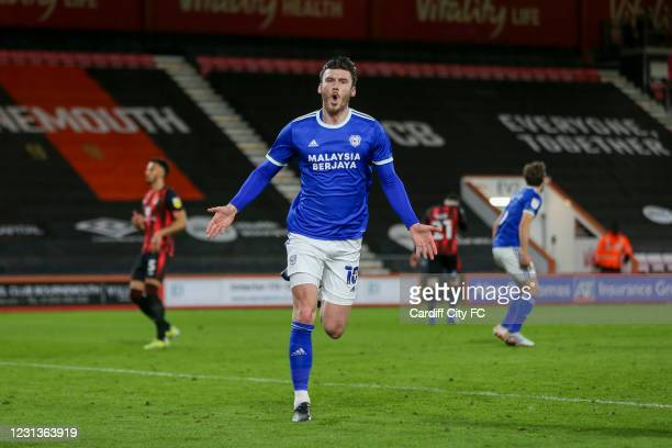 Kieffer Moore celebrates scoring the second goal for Cardiff City FC during the Sky Bet Championship match between Bournemouth and Cardiff City at...