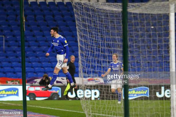 Kieffer Moore celebrates scoring the second goal for Cardiff City FC during the Sky Bet Championship match between Cardiff City and Derby County at...