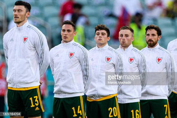 Kieffer Moore, Connor Roberts, Daniel James, Joe Morrell and Joe Allen of Wales during the UEFA Euro 2020 Championship Group A match between Turkey...