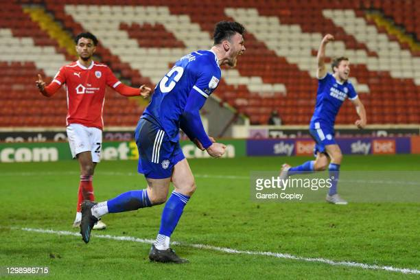 Kieffer Moore of Cardiff City celebrates after scoring their side's second goal during the Sky Bet Championship match between Barnsley and Cardiff...
