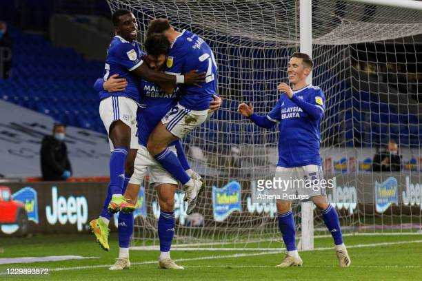 Kieffer Moore of Cardiff City celebrates his goal with Sheyi Ojo, Mark Harris and Harry Wilson during the Sky Bet Championship match between Cardiff...