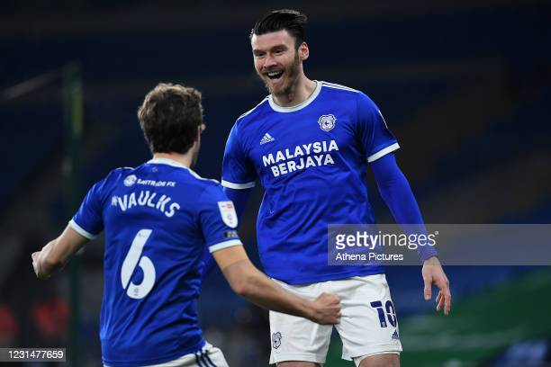 Kieffer Moore of Cardiff City celebrates scoring his side's second goal during the Sky Bet Championship match between Cardiff City and Derby County...