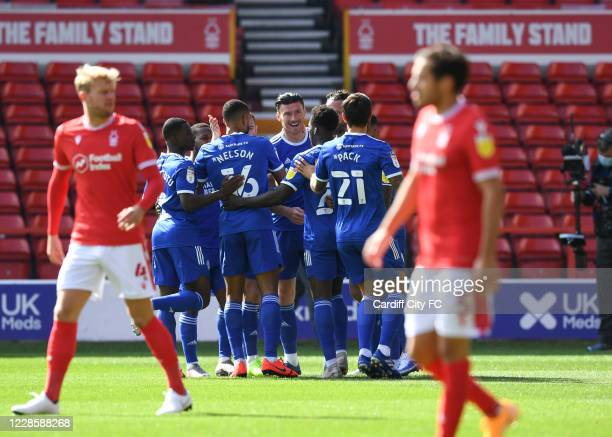 Kieffer Moore of Cardiff City FC celebrate during the Sky Bet Championship match between Nottingham Forest and Swansea City at City Ground on...