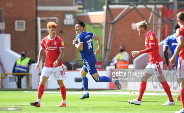 Kieffer Moore of Cardiff City FC celebrates during the Sky Bet Championship match between Nottingham Forest and Swansea City at City Ground on...