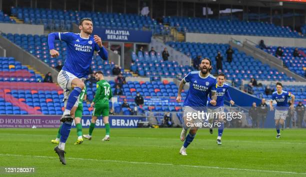 Kieffer Moore of Cardiff City FC celebrates during the Sky Bet Championship match between Cardiff City and Preston North End at Cardiff City Stadium...