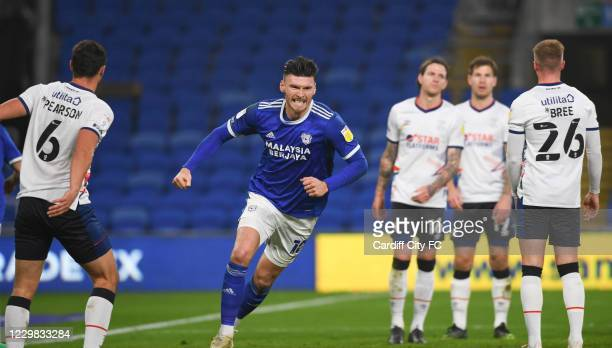Kieffer Moore of Cardiff City FC during the Sky Bet Championship match between Cardiff City and Luton Town at Cardiff City Stadium on November 28,...