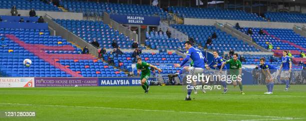 Kieffer Moore of Cardiff City FC during the Sky Bet Championship match between Cardiff City and Preston North End at Cardiff City Stadium on February...