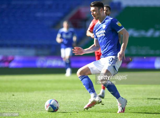 Kieffer Moore of Cardiff City FC during the Sky Bet Championship match between Cardiff City and Nottingham Forest at Cardiff City Stadium on April 2,...