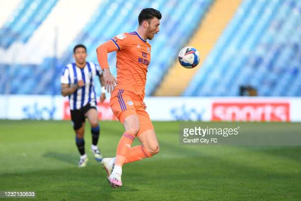 Kieffer Moore of Cardiff City FC during the Sky Bet Championship match between Sheffield Wednesday and Cardiff City at Hillsborough Stadium on April...
