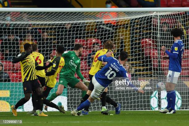 Kieffer Moore of Cardiff City scores a goal to make it 0-1 during the Sky Bet Championship match between Watford and Cardiff City at Vicarage Road on...