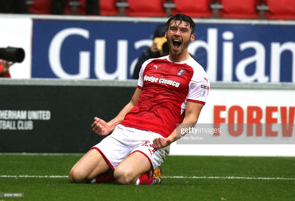 Kieffer Moore of Rotherham United celebrates after scoring his sides goal during the Sky Bet League One match between Rotherham United and Northampton Town at The New York Stadium on September 30, 2017 in Rotherham, England.
