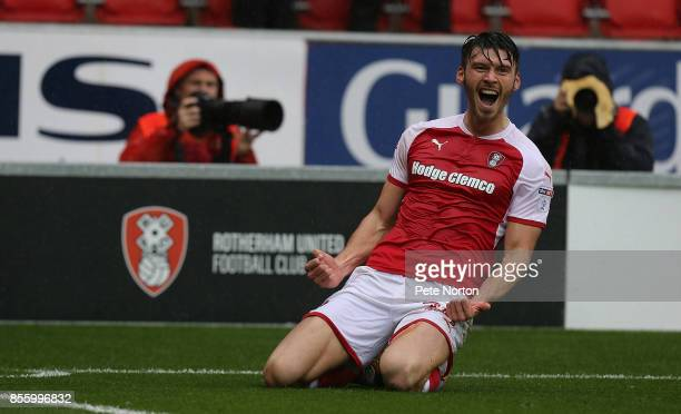 Kieffer Moore of Rotherham United celebrates after scoring his sides goal during the Sky Bet League One match between Rotherham United and...