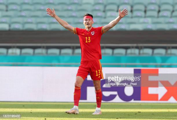 Kieffer Moore of Wales celebrates after scoring their side's first goal during the UEFA Euro 2020 Championship Group A match between Wales and...