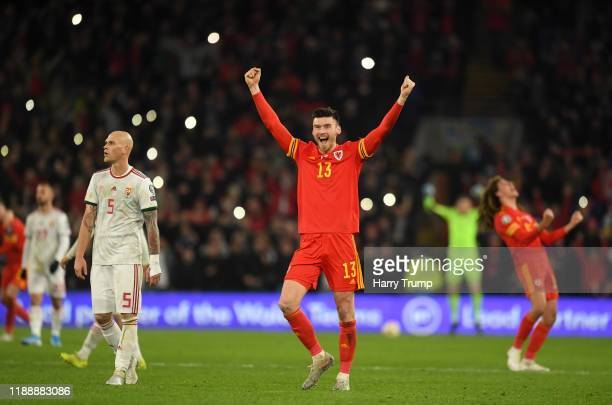 Kieffer Moore of Wales celebrates at the full time whistle during the UEFA Euro 2020 qualifier between Wales and Hungary so at Cardiff City Stadium...