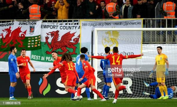 Kieffer Moore of Wales celebrates scoring the opening goal during the UEFA Euro 2020 Qualifier between Azerbaijan and Wales on November 16 2019 at...
