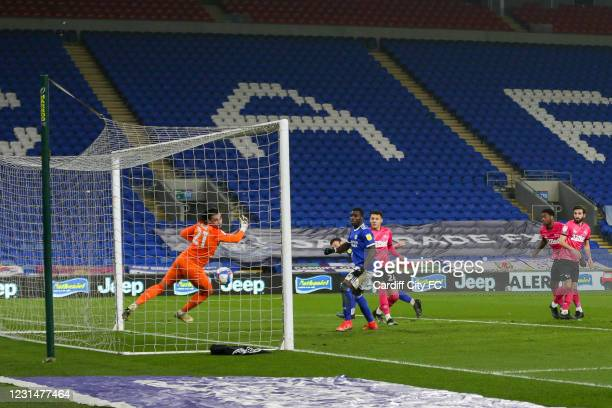 Kieffer Moore scores the second goal for Cardiff City FC during the Sky Bet Championship match between Cardiff City and Derby County at Cardiff City...