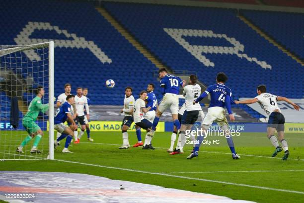 Kieffer Moore scores the third goal for Cardiff City FC during the Sky Bet Championship match between Cardiff City and Luton Town at Cardiff City...