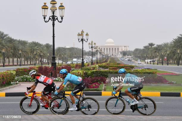 Kiel Reijnen of The United States and Team TrekSegafredo / Davide Villella of Italy and Astana Pro Team / Daniil Fominykh of Kazakhstan and Astana...