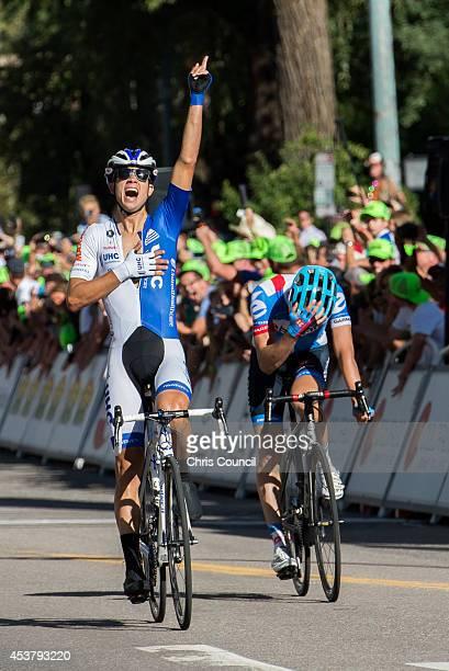 Kiel Reijnen of the United States riding for UnitedHealthcare Pro Cycling celebrates his victory as Alex Howes of the United States riding for Garmin...