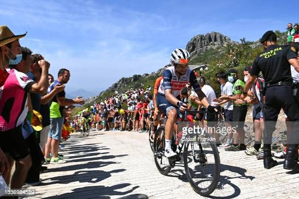 Kiel Reijnen of United States and Team Trek - Segafredo climbs the Pico Villuercas while fans cheer during the 76th Tour of Spain 2021, Stage 14 a...
