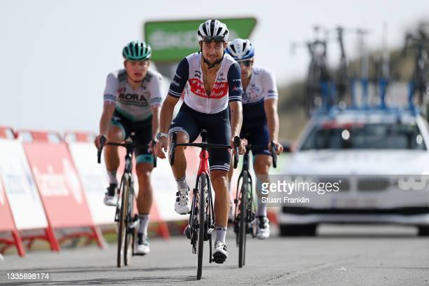 Kiel Reijnen of United States and Team Trek - Segafredo crosses the finishing line during the 76th Tour of Spain 2021, Stage 9 a 188 km stage from...