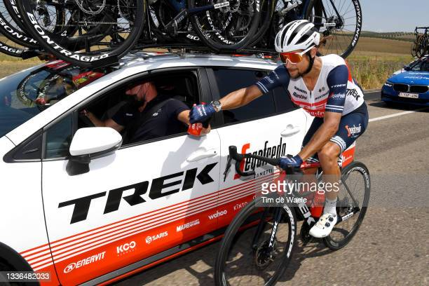 Kiel Reijnen of United States and Team Trek - Segafredo in feed zone during the 76th Tour of Spain 2021, Stage 12 a 175 km stage from Jaén to Córdoba...