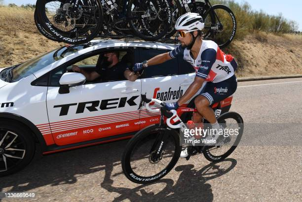 Kiel Reijnen of United States and Team Trek - Segafredo in feed zone during the 76th Tour of Spain 2021, Stage 13 a 203,7km stage from Belmez to...