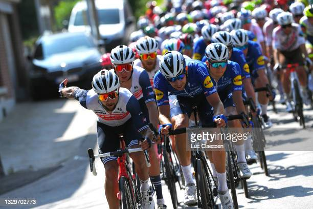 Kiel Reijnen of United States and Team Trek - Segafredo & Josef Cerny of Czech Republic and Team Deceuninck - Quick-Step lead The Peloton at final...