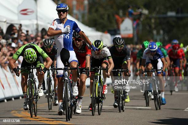 Kiel Reijnen of United States riding for UnitedHealthcare celebrates after winning stage three from Copper Mountain to Aspen of the 2015 USA Pro...