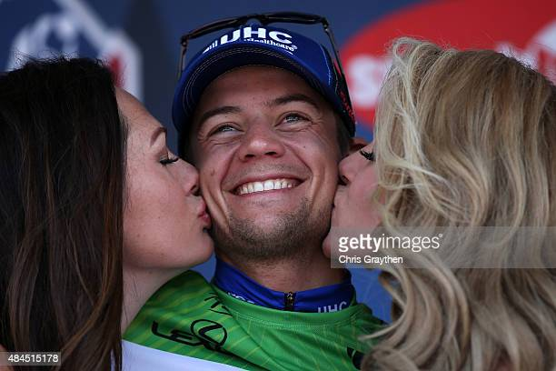 Kiel Reijnen of United States riding for UnitedHealthcare poses for a photo in the points jersey after stage three from Copper Mountain to Aspen of...