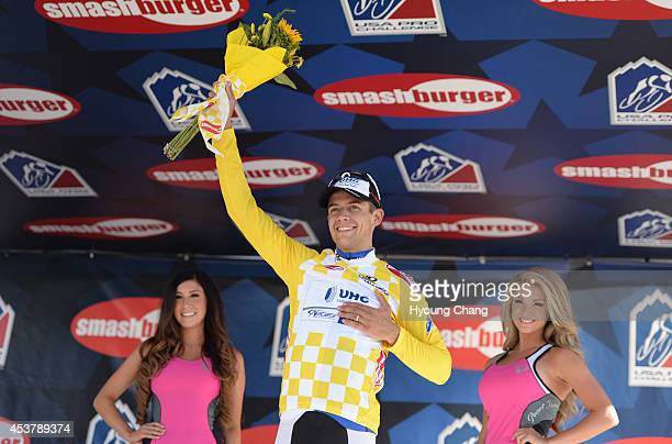 Kiel Reijnen of UnitedHealthcare Pro Cycling celebrate winning of 1st stage of USS Pro Challenge. Aspen, Colorado. August 18. 2014. The...