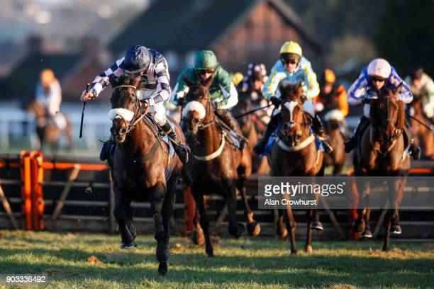 Kielan Wood riding Dahills Hill clear the second last before winning The Racing UK Mares' Handicap Hurdle at Ludlow racecourse on January 10 2018 in...