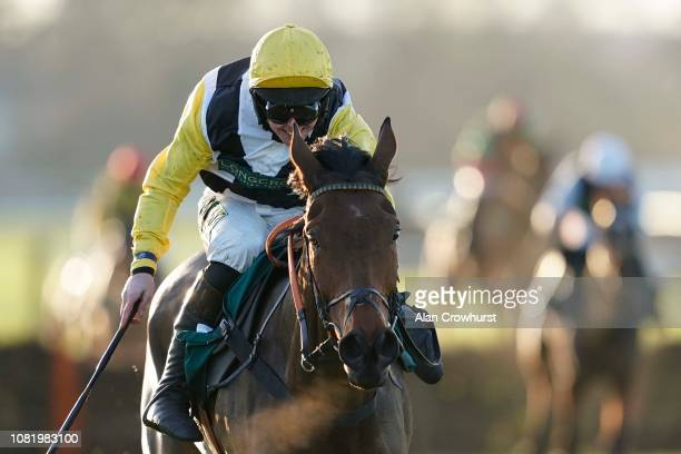 Kielan Woods riding Daydream Aulmes clear the last to win The GillyGallyPaddyParry Handicap Hurdle at Warwick Racecourse on December 13 2018 in...