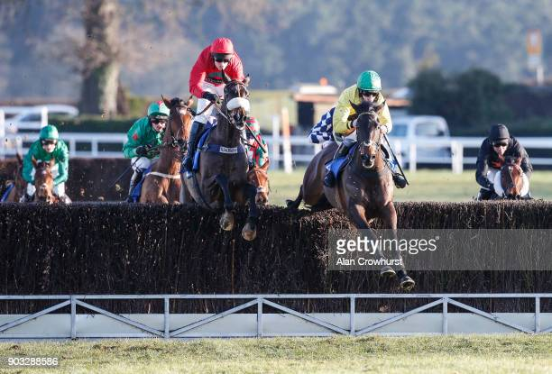 Kielan Woods riding Hey Bill clear the third last before winning The Heath Farm Meats Chase at Ludlow racecourse on January 10 2018 in Ludlow England