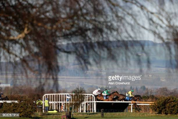 Kielan Woods riding Hey Bill on their way to winning The Heath Farm Meats Chase at Ludlow racecourse on January 10 2018 in Ludlow England