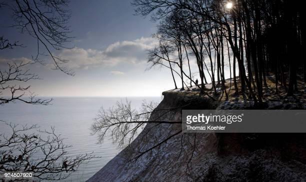 Kieler Ufer in winter in the Jasmund National Park on the island of Ruegen on February 07, 2018 in Glowe, Germany.