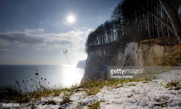 Kieler Ufer in winter in the Jasmund National Park on the island of Ruegen on February 07 2018 in Glowe Germany