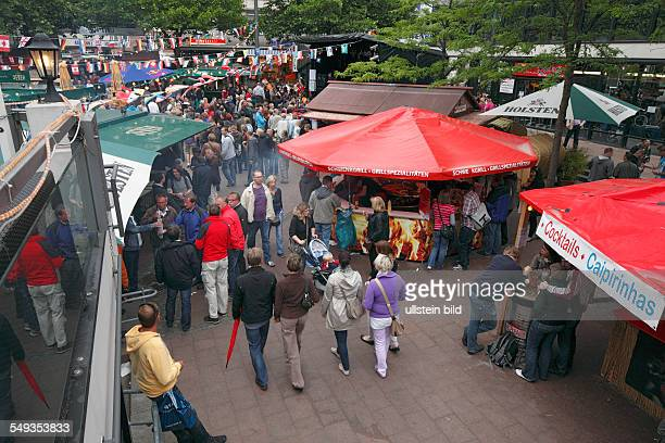 Kieler Woche 2011 sailing event summer fair Alter Markt market place snack stalls concession stands beer stalls people tourists