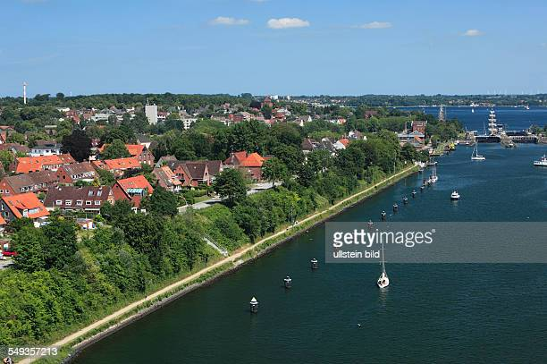 KielHoltenau city panorama residential buildings canal bank Kiel Canal