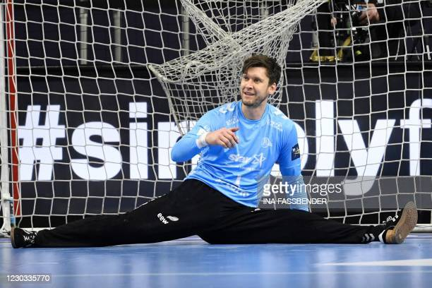Kiel's goalkeeper Niklas Landin makes a save during the semi-final handball match THW Kiel vs Telekom Veszprem HC at the EHF Pokal men's Champions...