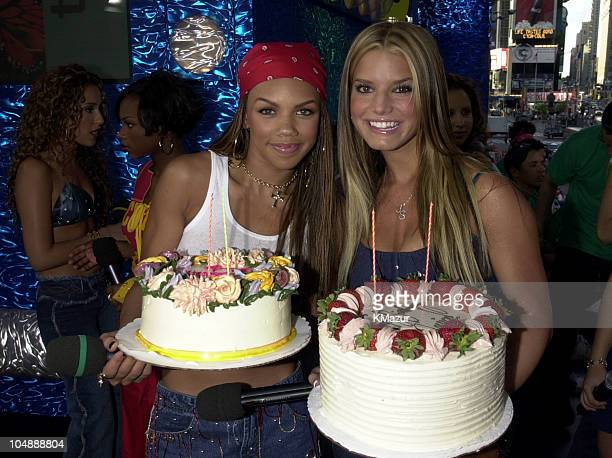 Kiely Williams of 3LW Jessica Simpson during MTV's 'TRL' Tour July 12 2001 at MTV Studios in New York City New York United States