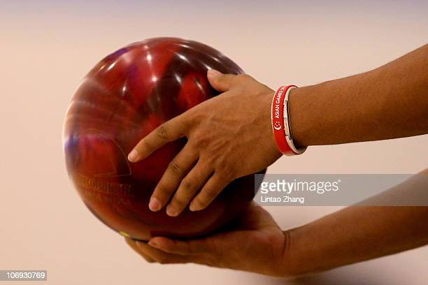 Kien Ling liew of Malaysia competes in his Bowling match against Men's doubles during day five of the 16th Asian Games Guangzhou 2010 at Tianhe...