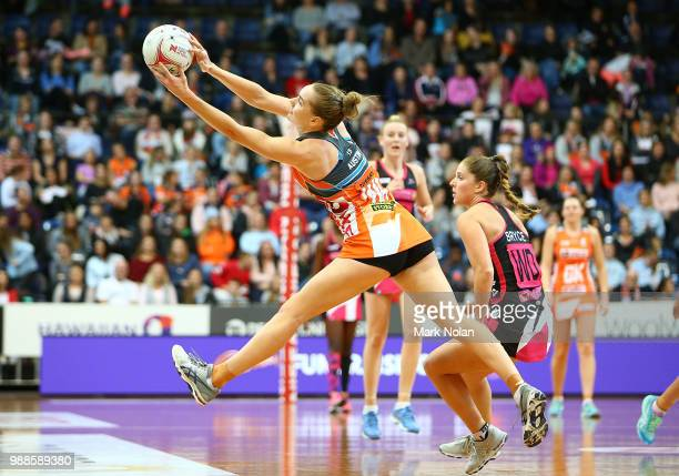 Kiera Austin of the Giants in action during the round nine Super Netball match between the Giants and the Thunderbirds at AIS on July 1 2018 in...